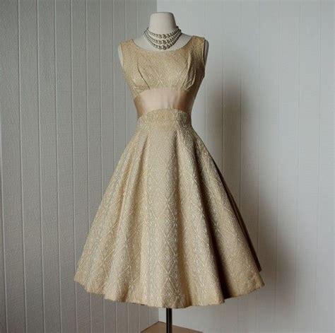S10 Puff Brocade Dress Dress vintage 1950s dress decadent gold brocade skirt pin up prom cocktail dress featured