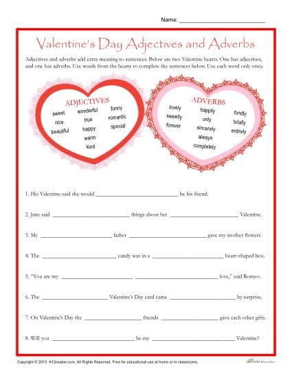 valentines reading comprehension worksheet valentine s day worksheet adjectives and adverbs