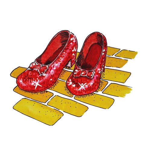 wizard of oz slippers ruby slippers the wonderful wizard of oz painting by irina