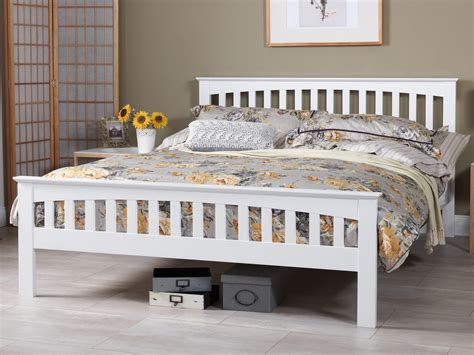 Superking Bed Frame Uk Serene Amelia King Size Opal White Wooden Bed Frame