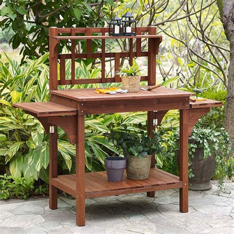 wood potting bench coral coast halstead outdoor wood potting bench with
