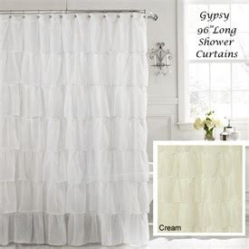 96 long shower curtain white 96 quot extra long gypsy shabby chic ruffled fabric