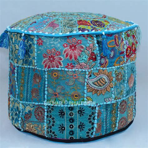 Turquoise Round Bohemian Patchwork Embroidered Indian Embroidered Ottoman