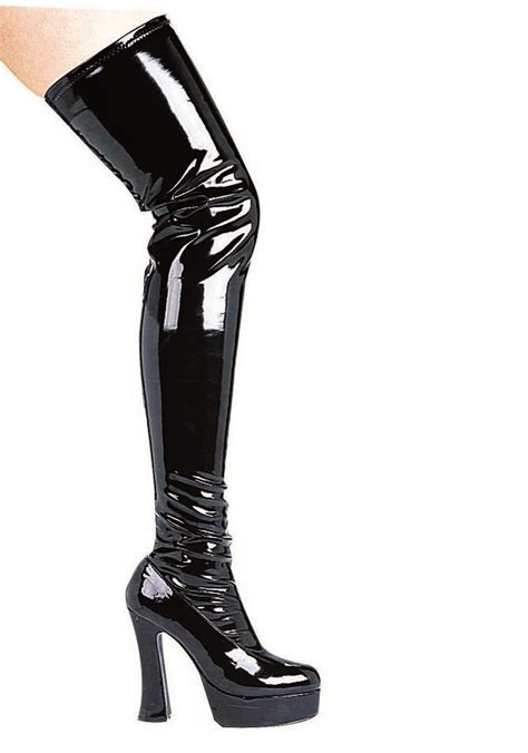 ellie shoes thrill 5 inch chunky heel thigh high stretch