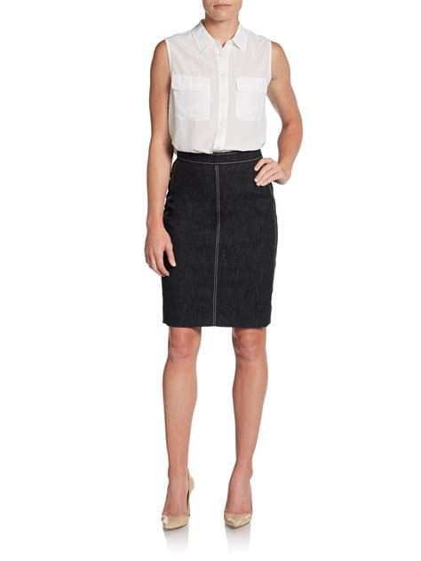 akris stretch cotton denim pencil skirt in black lyst