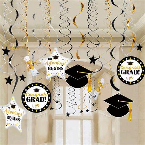 oheart graduation  hanging swirl decorations background diy metallic graduation party