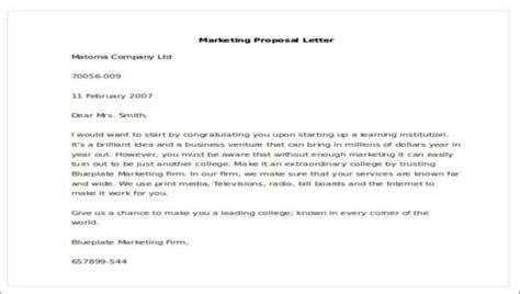 sample marketing proposal letters sample templates