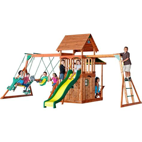 playset swing set backyard discovery saratoga all cedar playset 30011com
