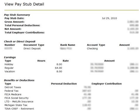direct deposit pay stub template
