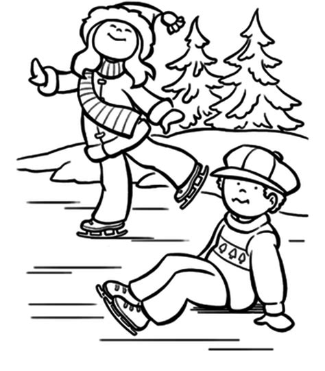 coloring pages winter skating coloring pages designs
