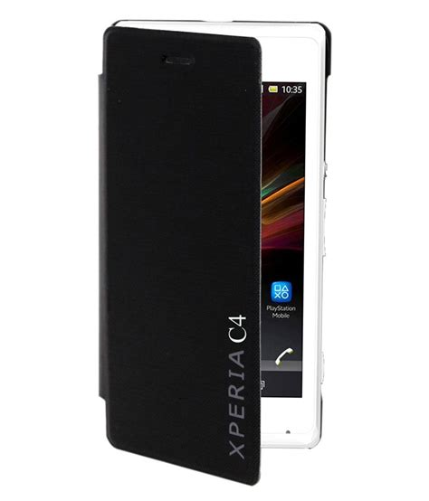 coverage flip cover for sony xperia c4 black flip