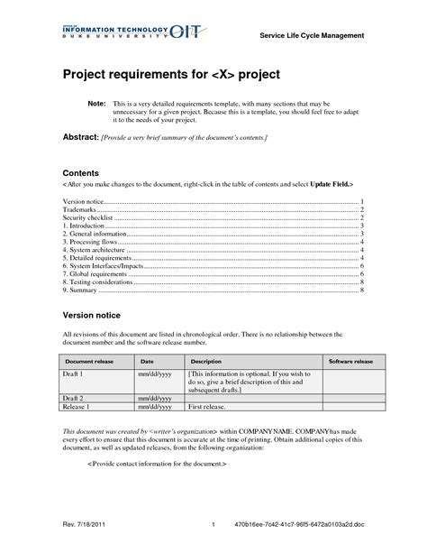 project requirements document template project requirements template 28 images collect