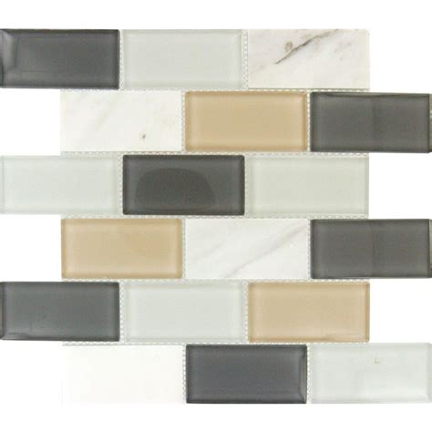 Home Depot Subway Tile by Ms International Glacier Peak Subway 12 In X 12 In X 8