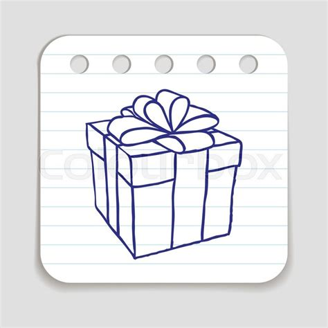 doodle box vector free doodle gift box icon blue pen infographic