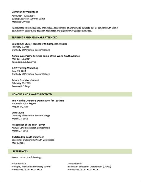 two page resume template sle resume format for fresh graduates two page format