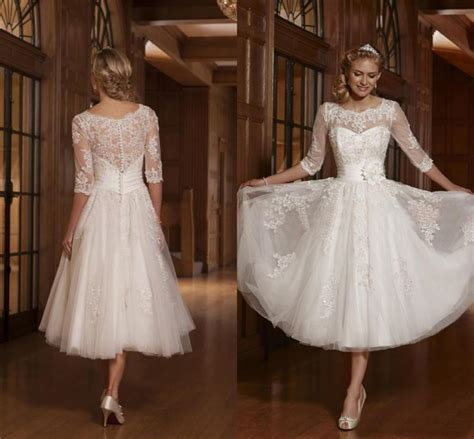 Three Of The Best Tea Dresses by Tulle 3 4 Sleeve Applique Bridal Gown Tea Length Wedding