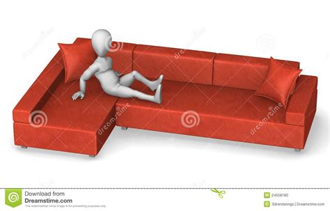 character sofa cartoon character on red sofa stock photo image 24558180