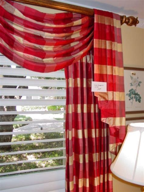 fold over curtains red buffalo check drape swag fold over jabot tail