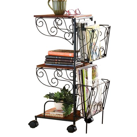 portable rolling magazine rack side table with 2 shelves