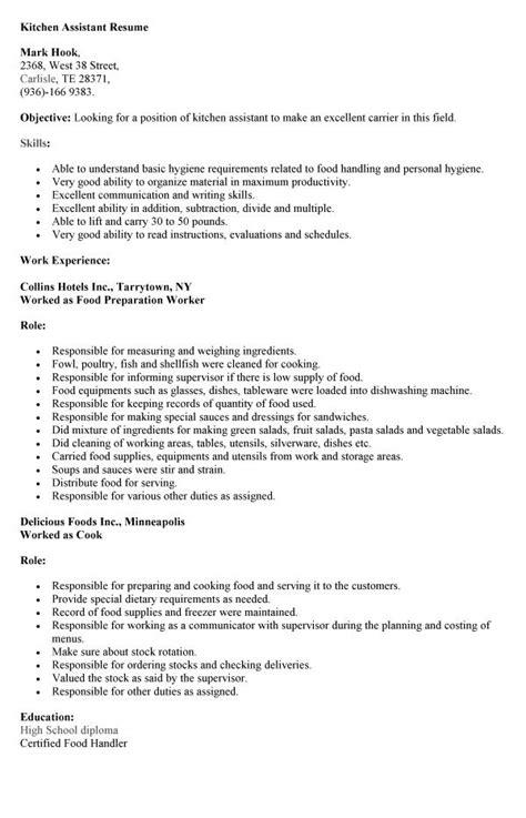 sle application letter for kitchen assistant