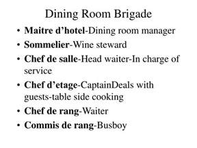 Dining Room Brigade Definition Ppt Culinary Brigade System Powerpoint Presentation Id