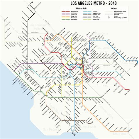 los angeles subway map map a potential 2040 los angeles metro subway system map 89 3 kpcc