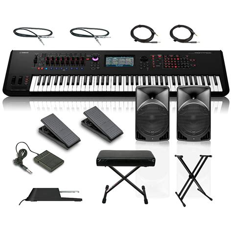 world tour single x keyboard stand deluxe bench package yamaha montage 7 76key synthesizer with powered speakers stand pedals deluxe keyboard