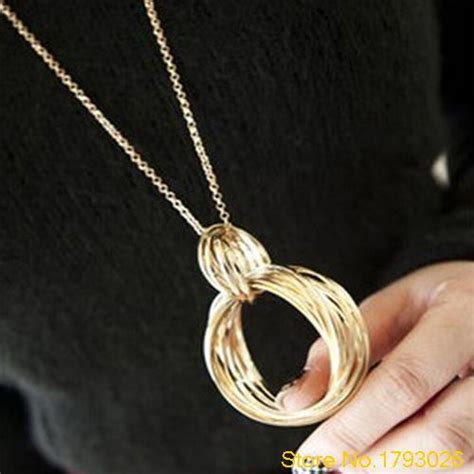 Kalung Weave Hoop Circle Pendant new gold tone metal multi weave hoop circle pendant necklace for fashion 4u3h in