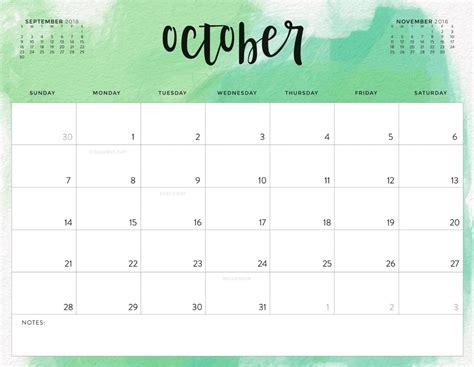 october 2018 calendar template free october 2018 calendar in printable format templates