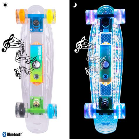 penny board light up wheels light up penny board worker ravery 22 quot with bluetooth