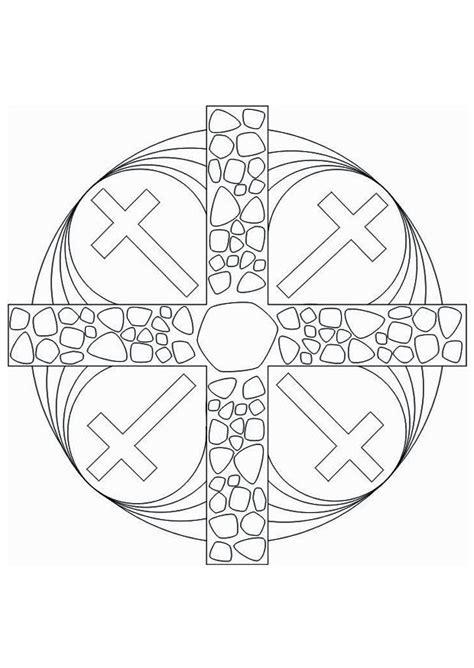 coloring page mandala cross img