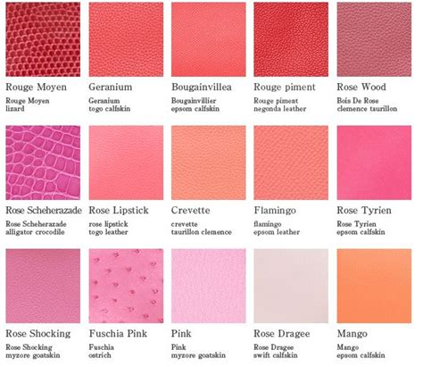 different colors of 35 different shades of pink color names different color