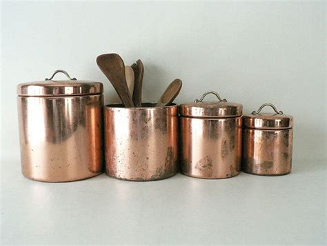 antique kitchen canister sets vintage copper metal kitchen canister set cas copper
