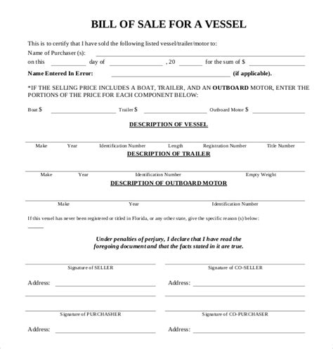 bill of sale for boat motor and trailer outboard motor bill of