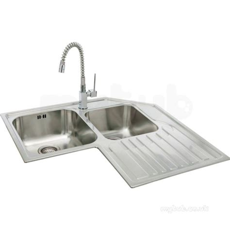 double drainer kitchen sinks lavella corner kitchen sink with right hand double bowl