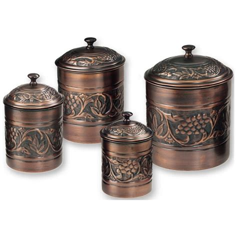 copper kitchen canisters canister set antique embossed set of 4 811
