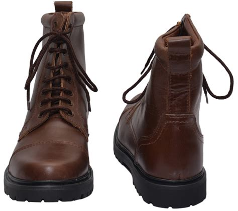 boots lace up genuine cowhide leather shoes brown - Cowhide Leather Shoes