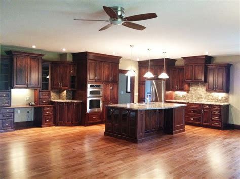 Open Concept Kitchen Cabinets Large Open Concept Cherry Kitchen Traditional Kitchen Toronto By Hawkins Cabinetry And