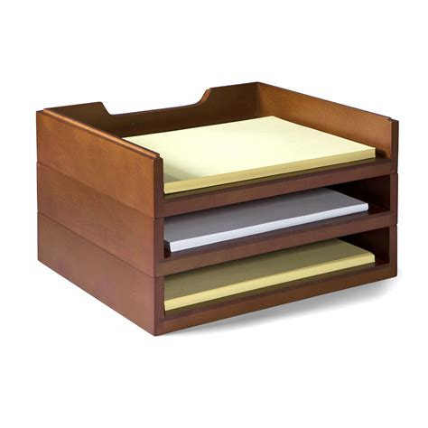stack style wood letter organizer mahogany office