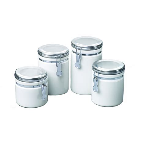 ceramic kitchen canisters sets anchor hocking 27477 4 square ribbed canister set 4