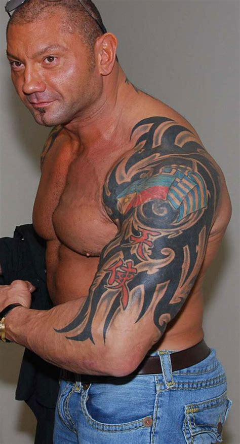 wwe superstar dave batista s tattoos