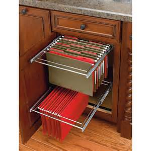 Kitchen Cabinet Pull Out Drawer by Two Tier Pull Out File Drawer System For Kitchen Or Desk