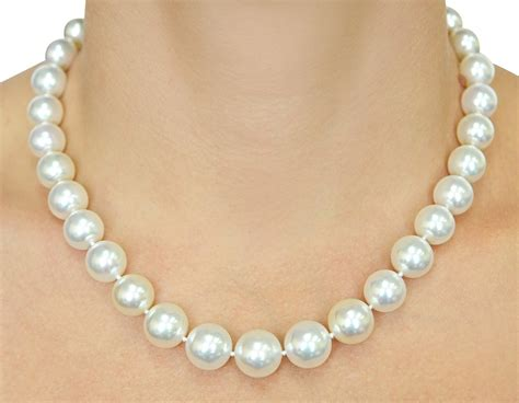 pearls jewelry certified 10 12mm white south sea pearl necklace aaaa