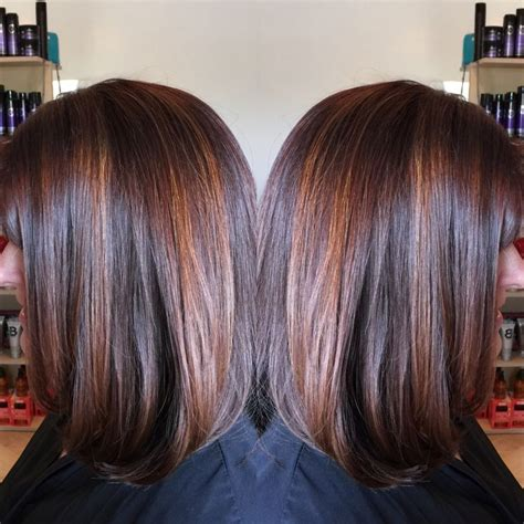 chocolate hair color with highlights for angled bobs dark red brown base with penny copper highlights long bob