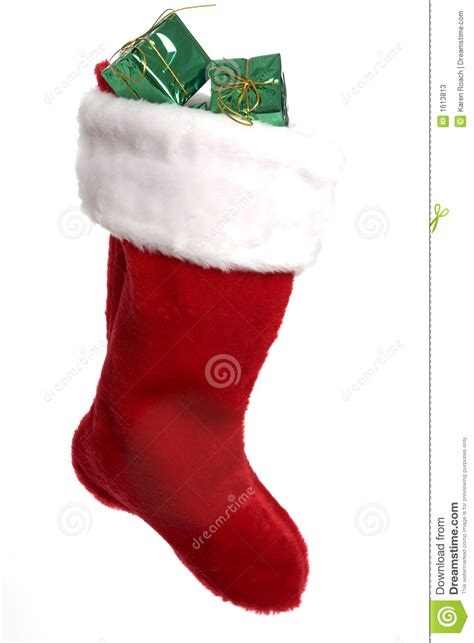 bright red christmas stocking  presents stock