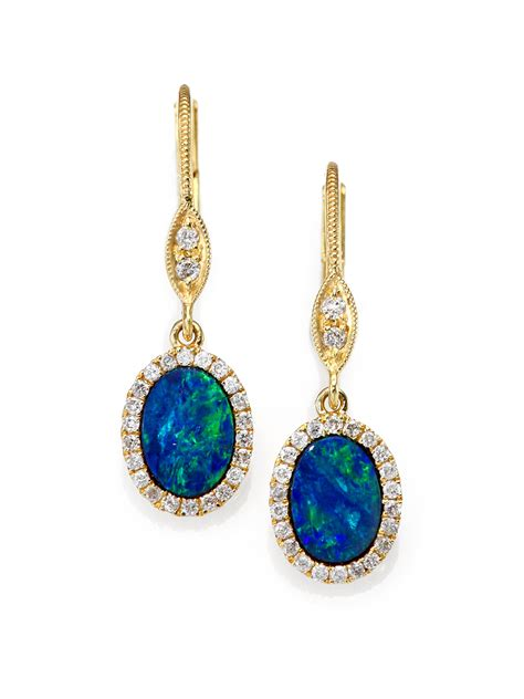blue opal earrings meira t blue opal 14k yellow gold drop earrings