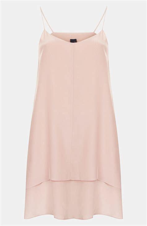 Dress Slid Pink lyst topshop boutique layer silk slip dress in pink