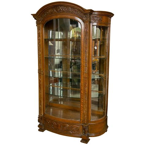 Horner Brothers Victorian Curved Glass China Cabinet at 1stdibs