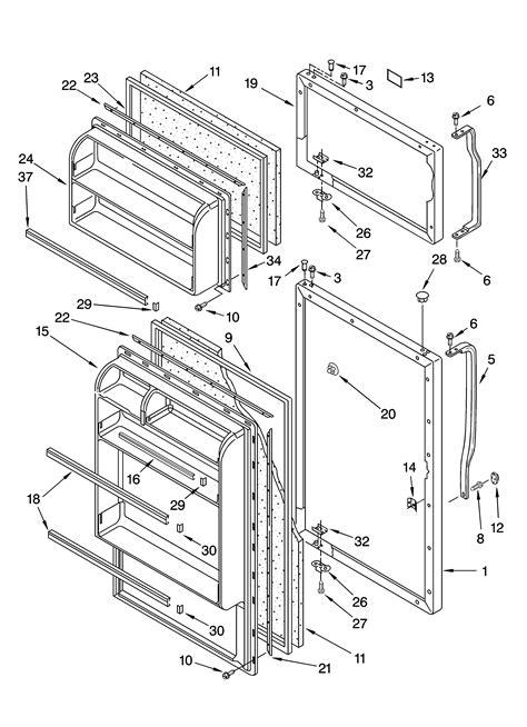 roper refrigerator parts diagram door parts diagram parts list for model rt18bkxkq03