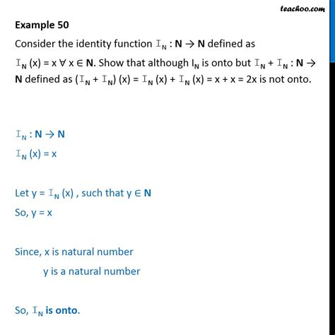 exle 50 consider the identity function in x x